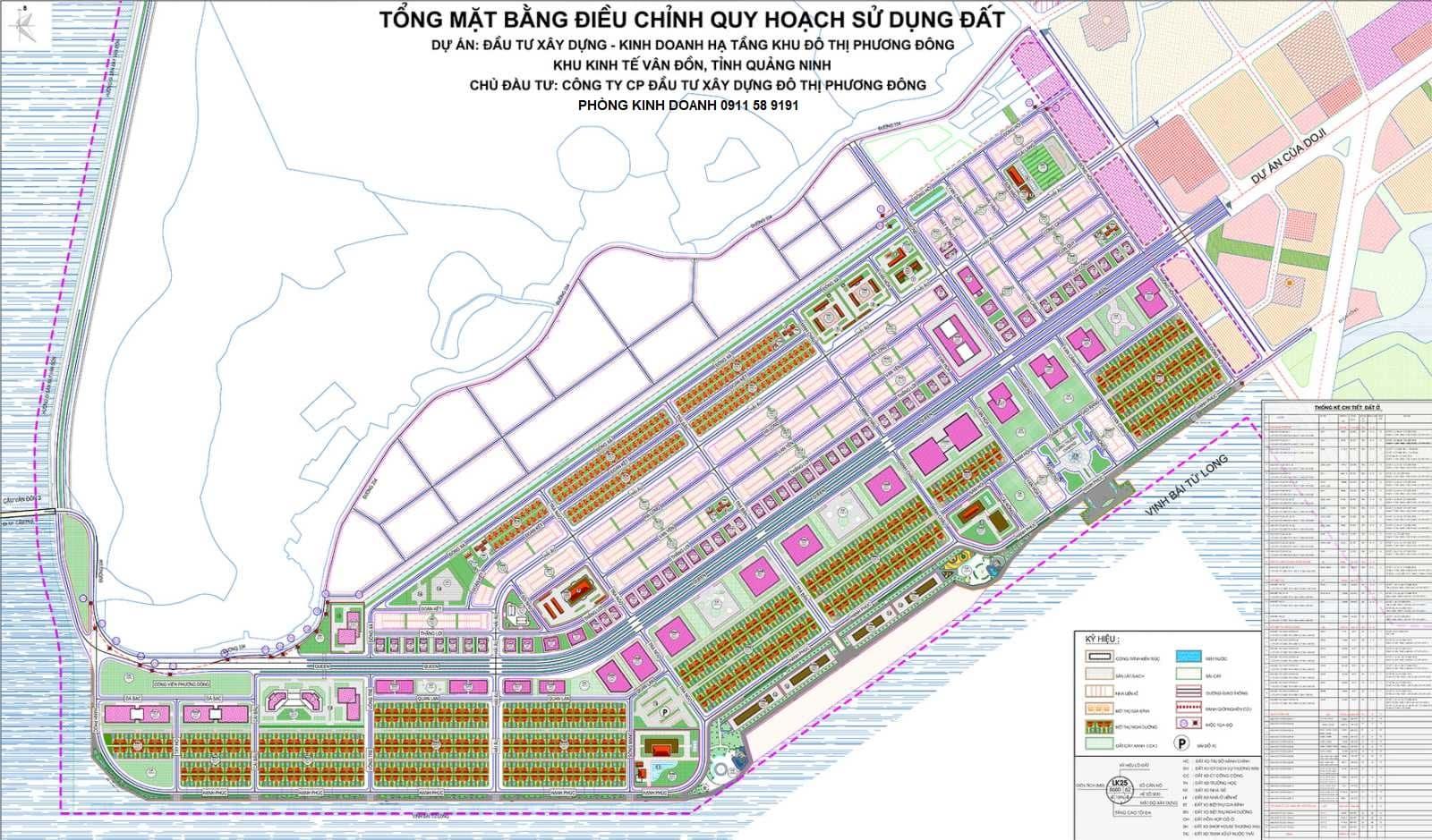 Tổng mặt bằng điều chỉnh quy hoạch sử dụng đất dự án Phương Đông Vân Đồn